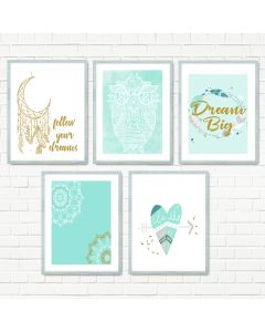 Feather Boho Aqua Print Set Multiple Print Choices
