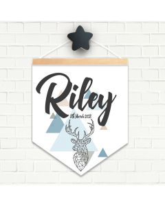 Personalised Hanging Pendant Deer Geo
