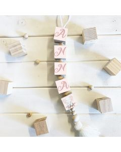 Hanging Wooden Name Blocks Pastel Whimsical Theme Various Colour options