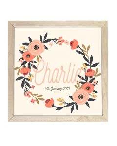 Wooden Framed Sign  Name Plaque Peach Wreath