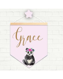 Personalised Hanging Pendant Panda Floral Crown