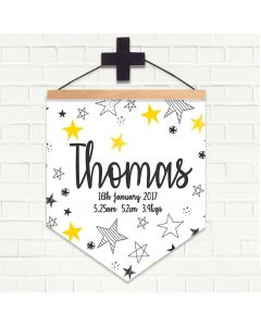 Personalised Hanging Pendant Flag White Stars