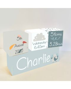 Elephant Cloud Wooden Birth Block Set