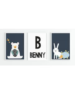 Scandi Animal Name Nursery Trio