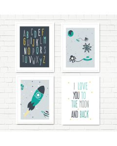 Space Teal Print Set
