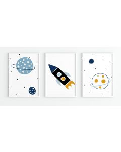 Pastel Spaceship Moon Print Set Nursery Decor