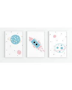 Pastel Spaceship Pink Moon Print Set Nursery Decor