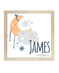 Wooden Framed Sign  Name Plaque Moon Star