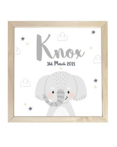 Wooden Framed Sign  Name Plaque Star Elephant