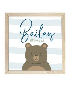Wooden Framed Sign  Name Plaque Bear Stripes