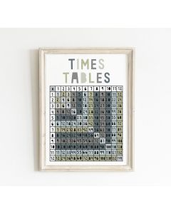 Times Table Educational Print Bedroom & Nursery Decor