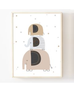 Elephant Trio  Print or Hanging Nursery Decor