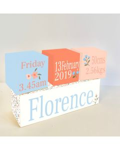 White Ditsy Floral Wooden Birth Block Set