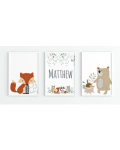 Woodland Animal Print Name Trio