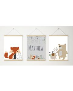 Woodland Animal Print Grey Name Trio